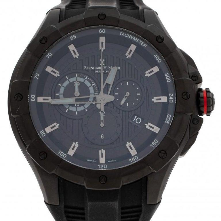 Contemporary Bernhard H. Mayer Black Victor Chronograph Men's Wristwatch 50 mm