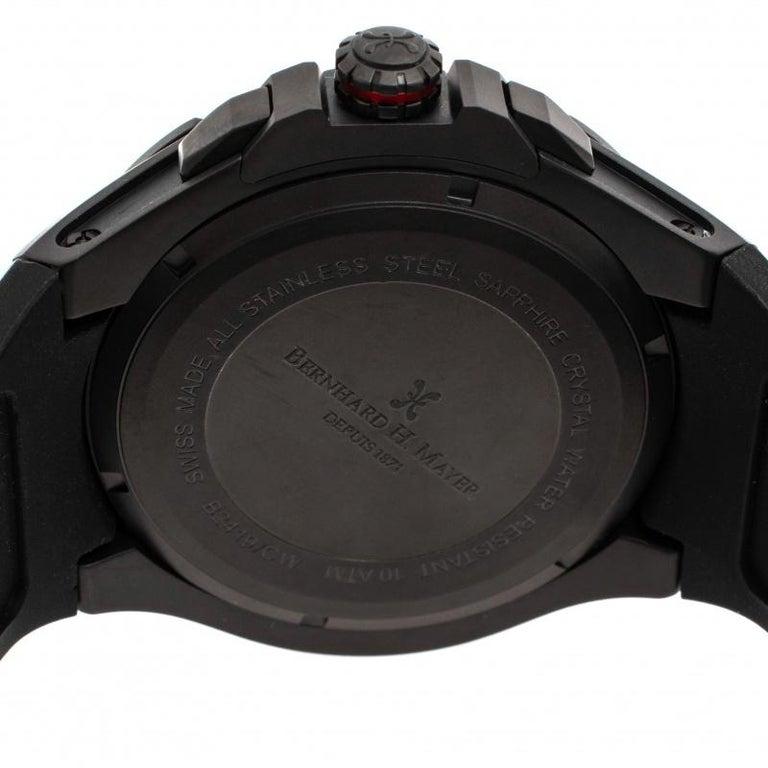 Bernhard H. Mayer Black Victor Chronograph Men's Wristwatch 50 mm In Good Condition In Dubai, Al Qouz 2