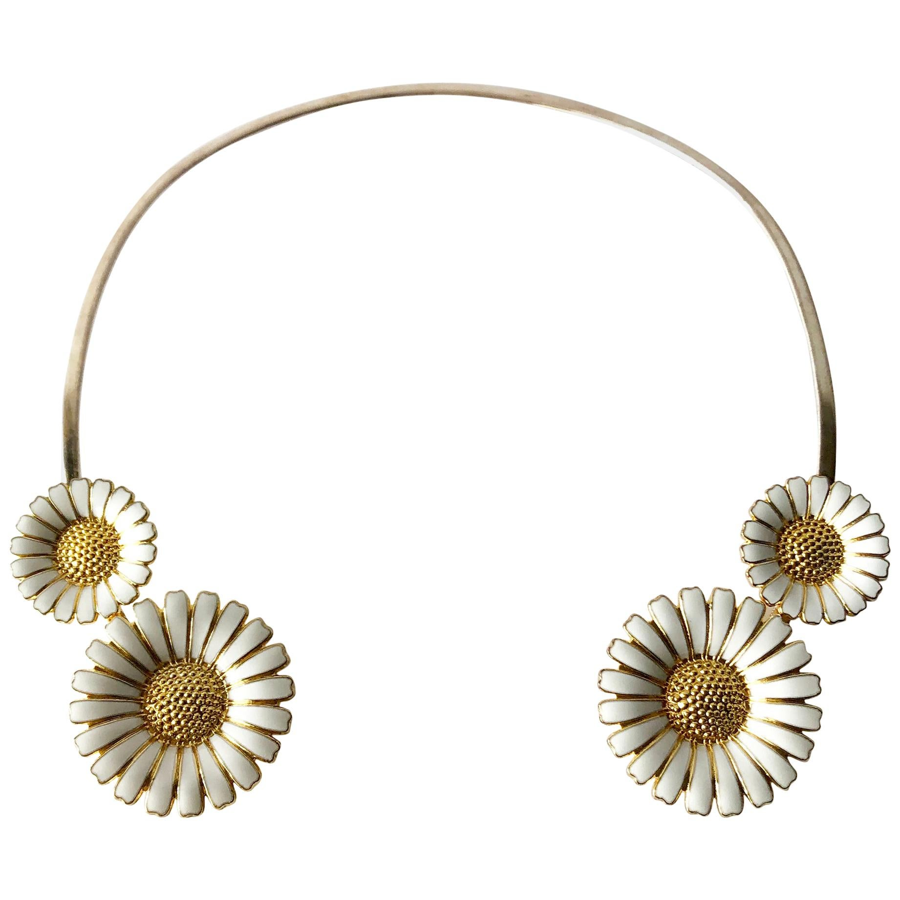 Bernhard Hertz Sterling Silver Gilt Enamel Daisy Danish Modernist Necklace