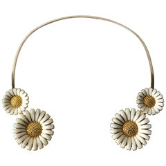 Bernhard Hertz Sterling Silver Gilt Enamel Daisy Danish Modernist Necklace