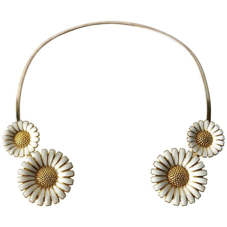 Bernhard Hertz Sterling Silver Gilt Enamel Daisy Danish Modernist Necklace For Sale