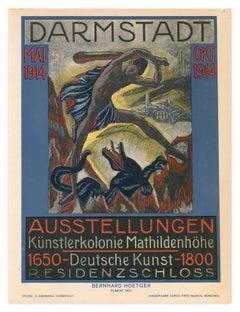 Fourth Darmstadt exhibition, Expressionist dragon poster, Bernhard Hoetger, 1914