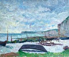 Falaises a Saint-Pierre-en-Port - Post-Impressionist Oil, Boats by B Klene