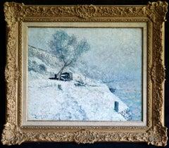 River - Bord du canal du Loing - Moret - Impressionist Landscape Oil by B Klene