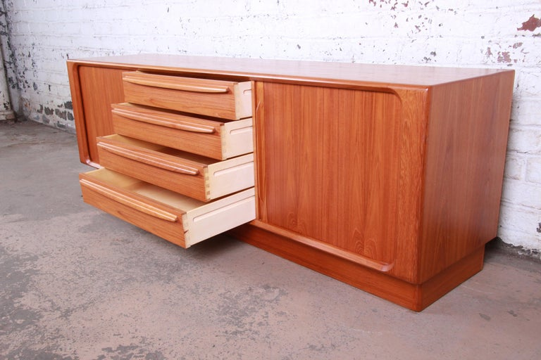Bernhard Pedersen & Son Danish Modern Teak Tambour Door Sideboard Credenza For Sale 5