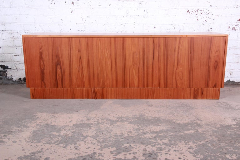 Bernhard Pedersen & Son Danish Modern Teak Tambour Door Sideboard Credenza For Sale 6