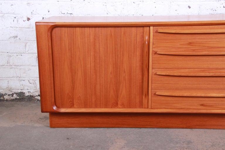 20th Century Bernhard Pedersen & Son Danish Modern Teak Tambour Door Sideboard Credenza For Sale