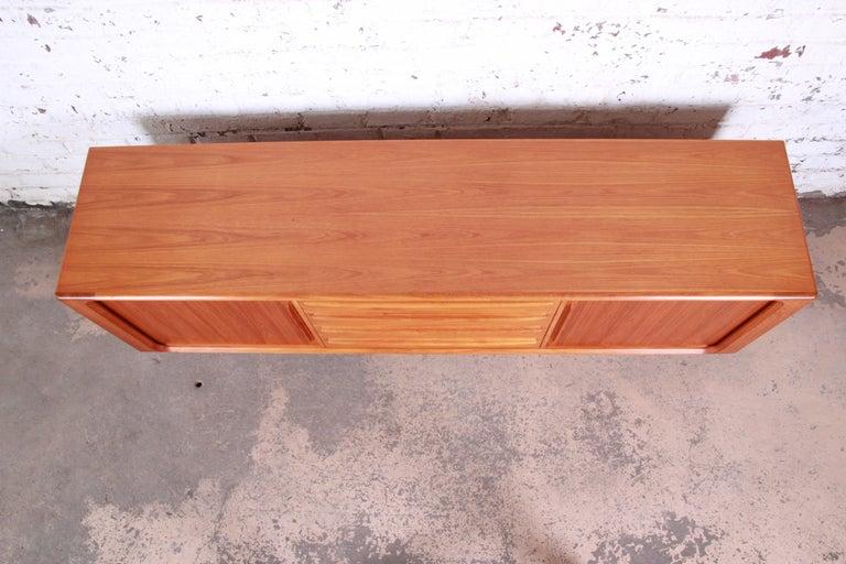 Bernhard Pedersen & Son Danish Modern Teak Tambour Door Sideboard Credenza For Sale 1