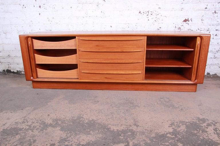 Bernhard Pedersen & Son Danish Modern Teak Tambour Door Sideboard Credenza For Sale 2