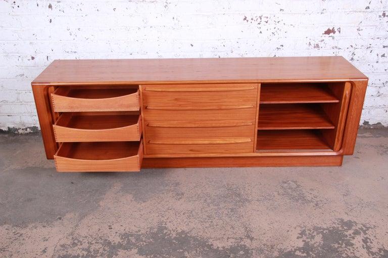 Bernhard Pedersen & Son Danish Modern Teak Tambour Door Sideboard Credenza For Sale 3