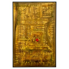 Bernhard Rohne Acid Etched Brass Abstract Artwork Panel, circa 1970s