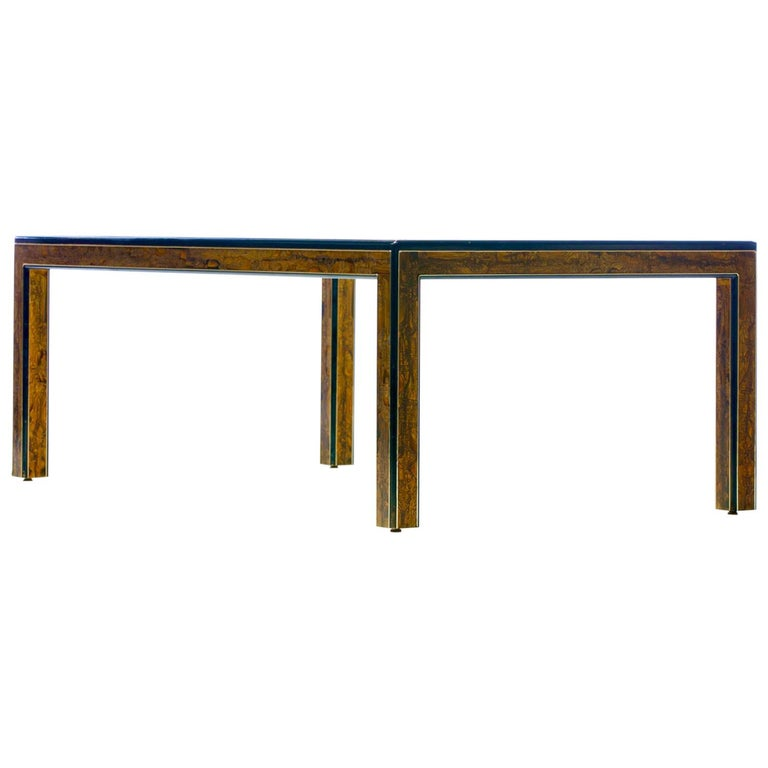 Bernhard Rohne Acid Etched Brass and Glass Dining Table for Mastercraft For Sale