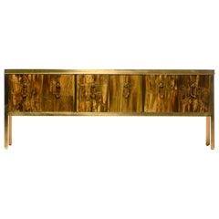 Bernhard Rohne Acid Etched Brass Credenza or Console for Mastercraft, c. 1970s