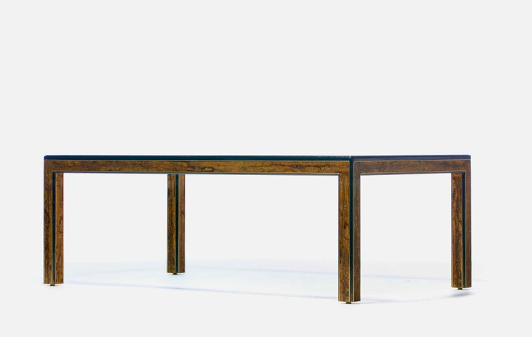 Bernhard Rohne Acid Etched Brass and Glass Dining Table for Mastercraft For Sale 6