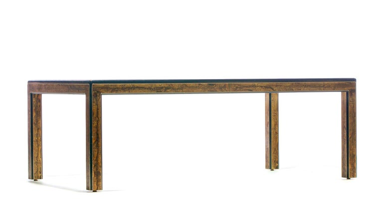 Bernhard Rohne Acid Etched Brass and Glass Dining Table for Mastercraft For Sale 8