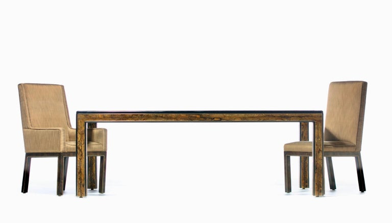 Bernhard Rohne Acid Etched Brass and Glass Dining Table for Mastercraft For Sale 9