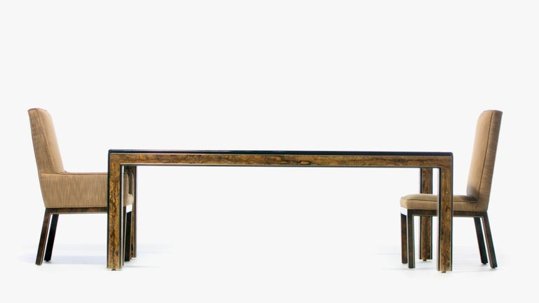 Bernhard Rohne Acid Etched Brass and Glass Dining Table for Mastercraft For Sale 10