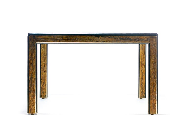American Bernhard Rohne Acid Etched Brass and Glass Dining Table for Mastercraft For Sale