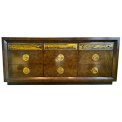 Bernhard Rohne Burl Wood, Brass Hardware with Etched Brass Dresser / Sideboard