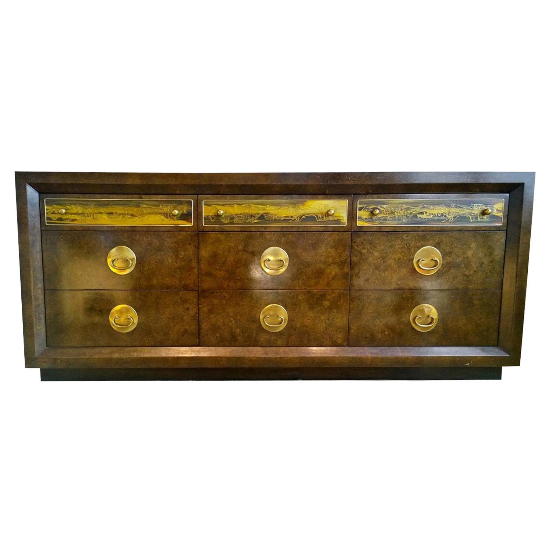Bernhard Rohne Burl Wood, Brass Hardware with Etched Brass Dresser / Sideboard