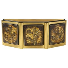 Bernhard Rohne for Mastercraft Black  Lacquer Brass Tree Of Life Credenza