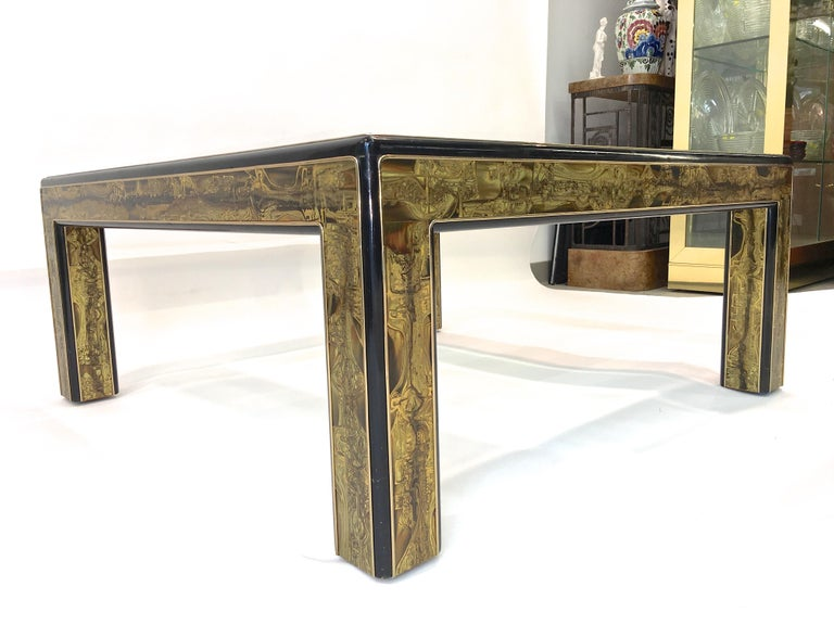 Bernhard Rohne for Mastercraft Acid Etched Brass and Ebonized Cocktail Table For Sale 3
