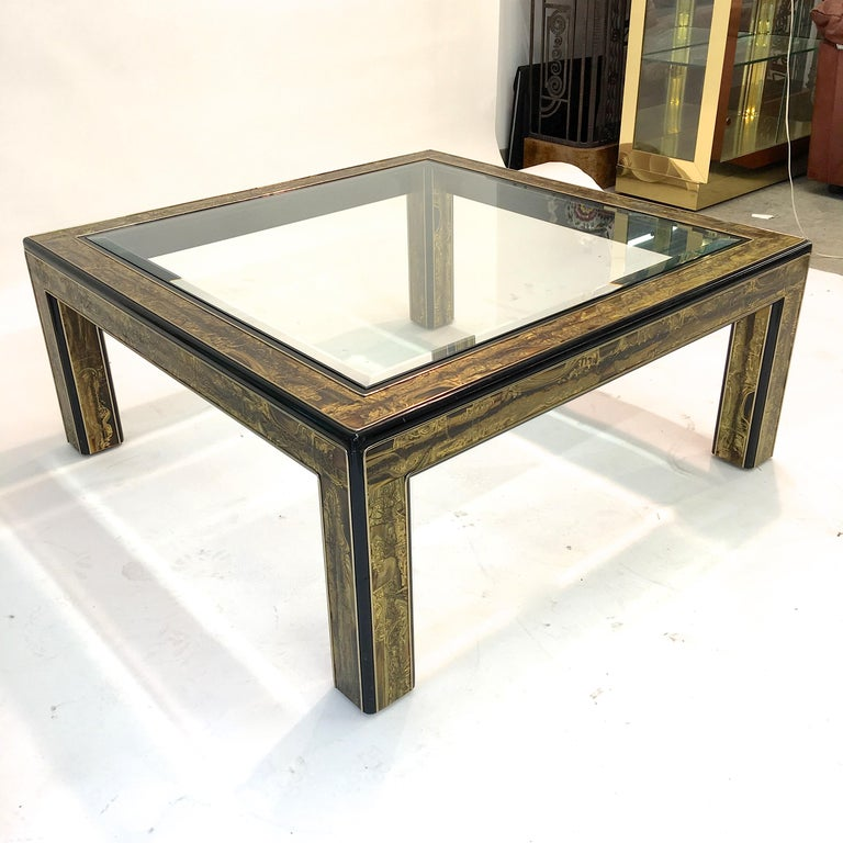 Bernhard Rohne for Mastercraft Acid Etched Brass and Ebonized Cocktail Table For Sale 5