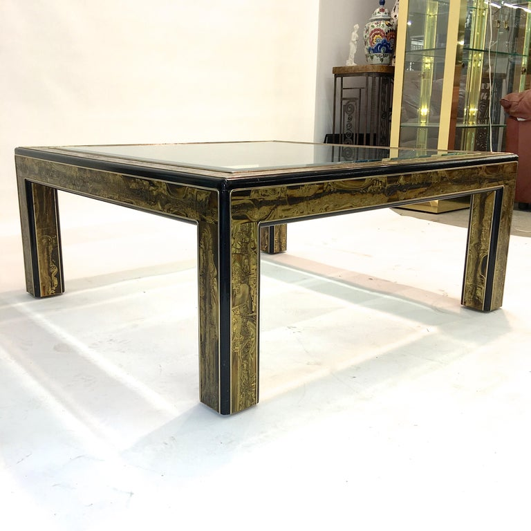 Bernhard Rohne for Mastercraft Acid Etched Brass and Ebonized Cocktail Table For Sale 6