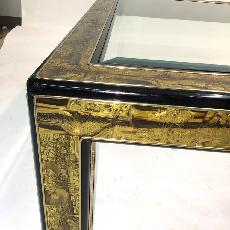 Beveled Bernhard Rohne for Mastercraft Acid Etched Brass and Ebonized Cocktail Table For Sale