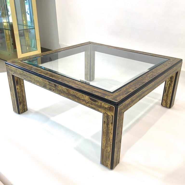Bernhard Rohne for Mastercraft Acid Etched Brass and Ebonized Cocktail Table For Sale 2