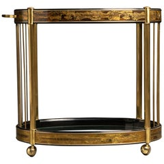Bernhard Rohne for Mastercraft Acid Etched Brass and Glass Bar Cart, circa 1970