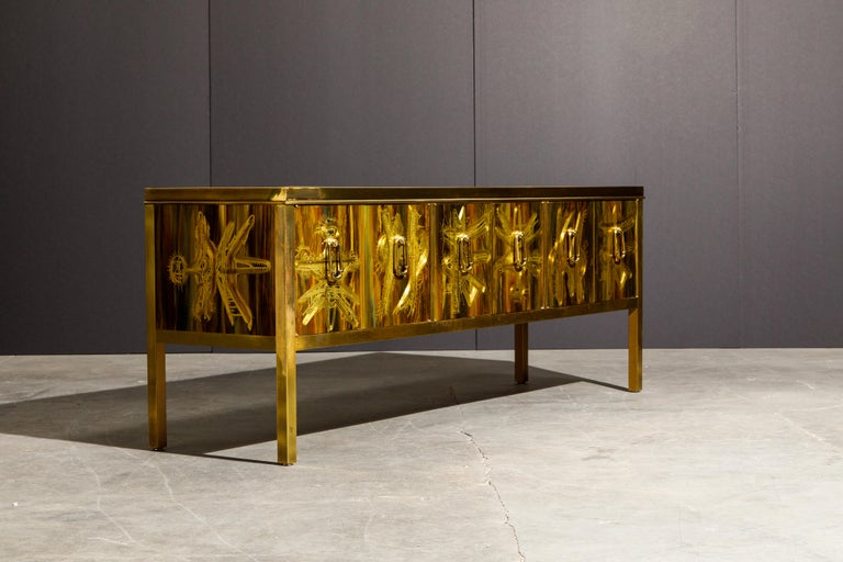 Bernhard Rohne for Mastercraft Acid Etched Brass Console Cabinet, 1970s For Sale 4