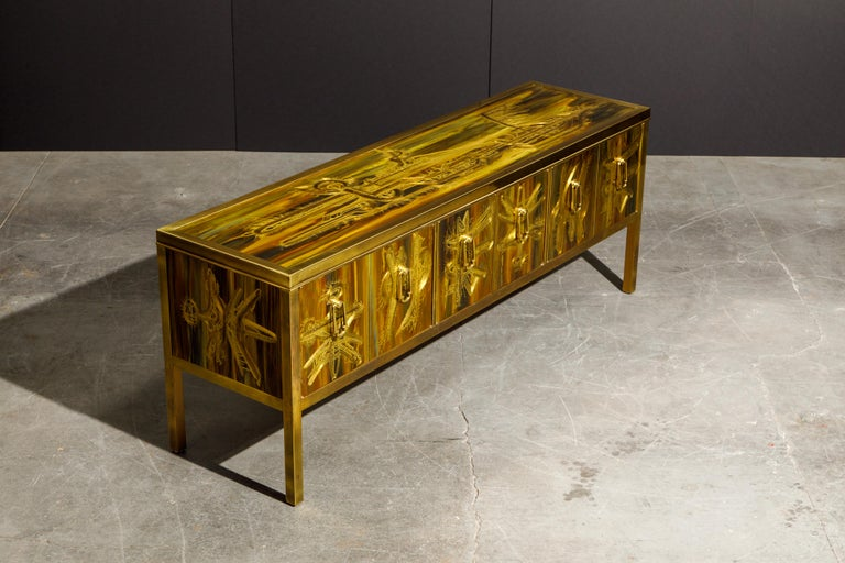 Bernhard Rohne for Mastercraft Acid Etched Brass Console Cabinet, 1970s For Sale 5