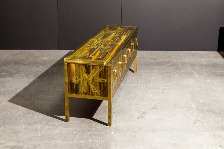 Bernhard Rohne for Mastercraft Acid Etched Brass Console Cabinet, 1970s For Sale 6