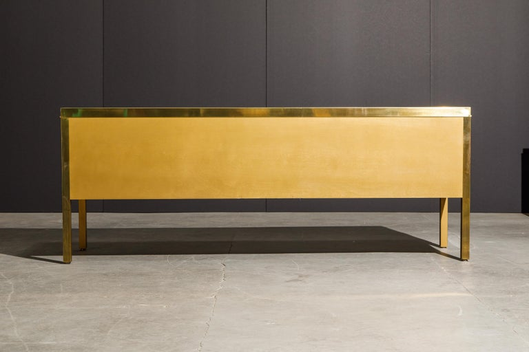 Bernhard Rohne for Mastercraft Acid Etched Brass Console Cabinet, 1970s For Sale 7