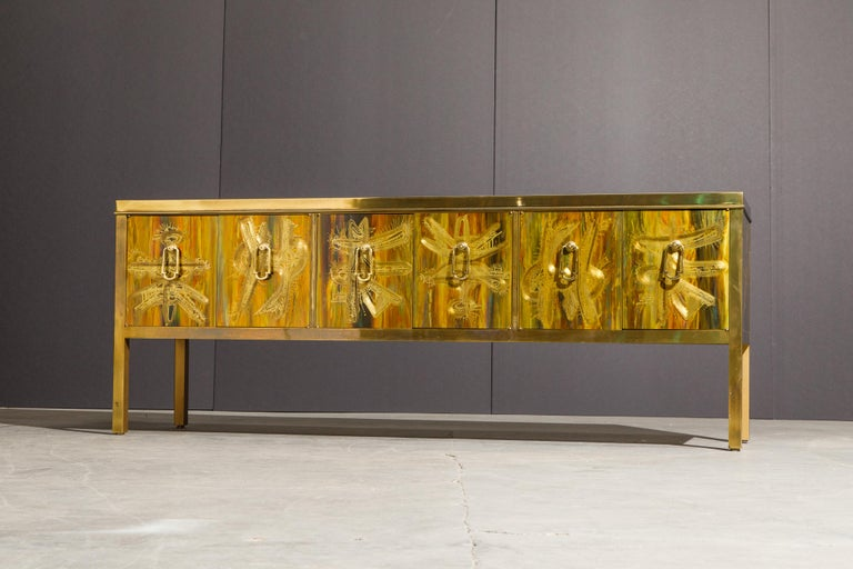 Bernhard Rohne for Mastercraft Acid Etched Brass Console Cabinet, 1970s For Sale 8