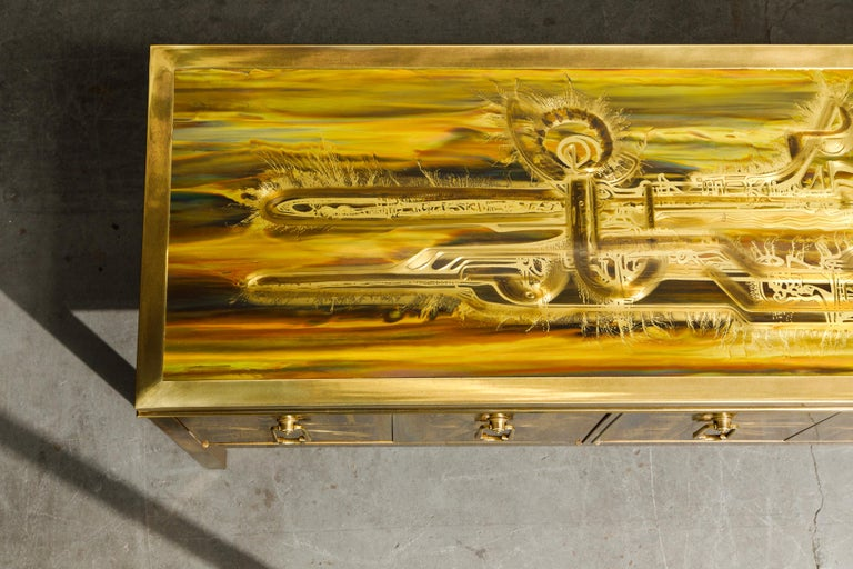 Bernhard Rohne for Mastercraft Acid Etched Brass Console Cabinet, 1970s For Sale 11