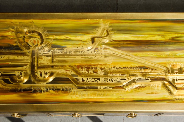 Bernhard Rohne for Mastercraft Acid Etched Brass Console Cabinet, 1970s For Sale 12