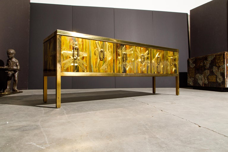 Bernhard Rohne for Mastercraft Acid Etched Brass Console Cabinet, 1970s For Sale 14