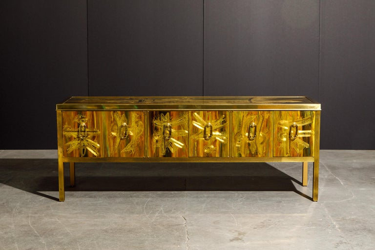 Modern Bernhard Rohne for Mastercraft Acid Etched Brass Console Cabinet, 1970s For Sale