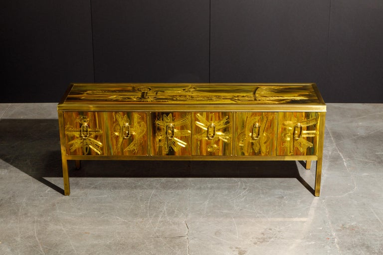 American Bernhard Rohne for Mastercraft Acid Etched Brass Console Cabinet, 1970s For Sale