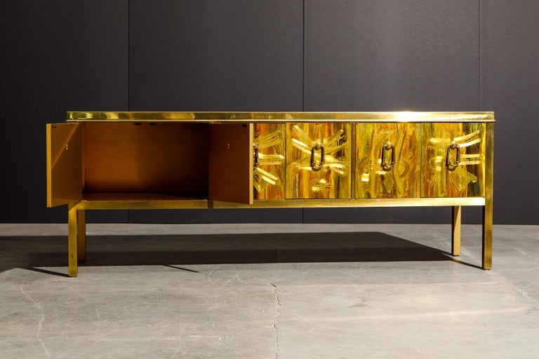 Bernhard Rohne for Mastercraft Acid Etched Brass Console Cabinet, 1970s In Excellent Condition For Sale In Los Angeles, CA