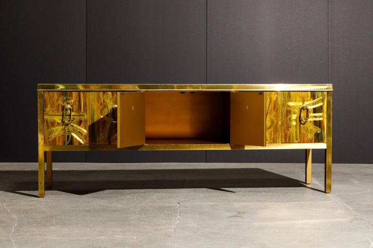 Late 20th Century Bernhard Rohne for Mastercraft Acid Etched Brass Console Cabinet, 1970s For Sale