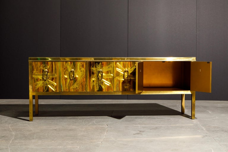 Bernhard Rohne for Mastercraft Acid Etched Brass Console Cabinet, 1970s For Sale 1