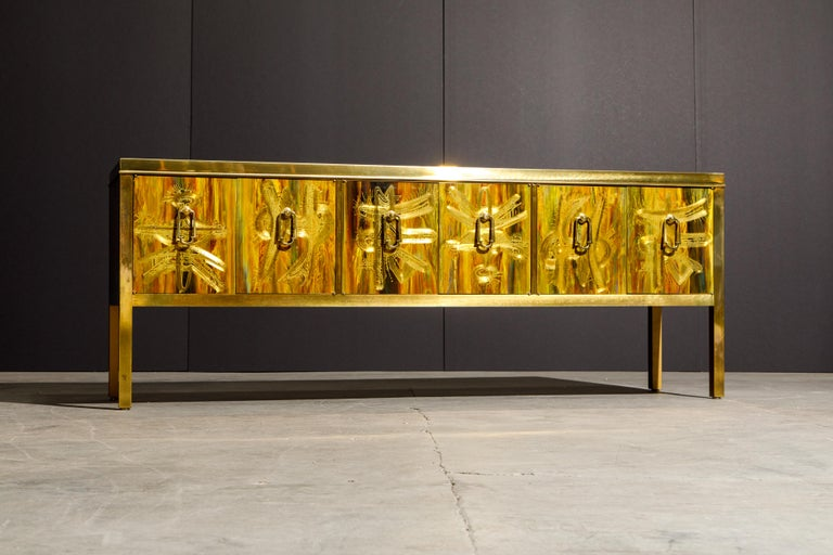 Bernhard Rohne for Mastercraft Acid Etched Brass Console Cabinet, 1970s For Sale 2