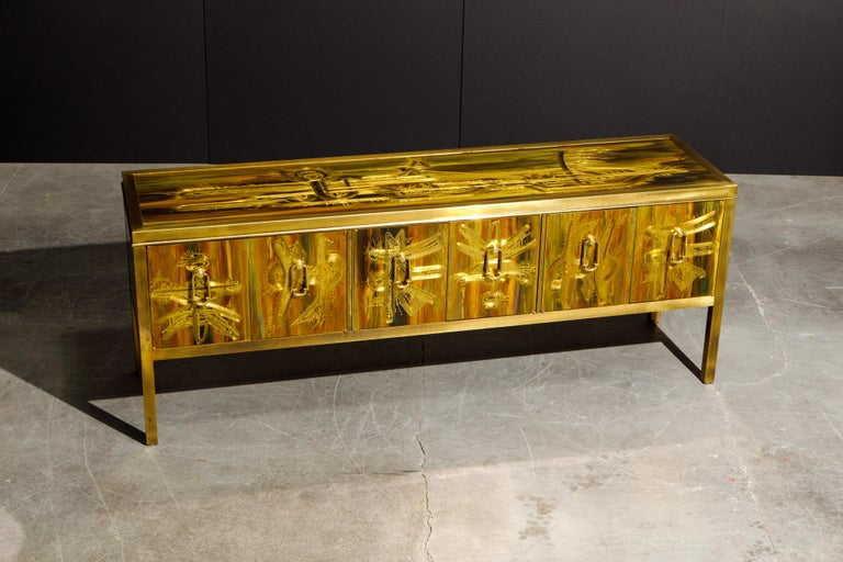 Bernhard Rohne for Mastercraft Acid Etched Brass Console Cabinet, 1970s For Sale 3