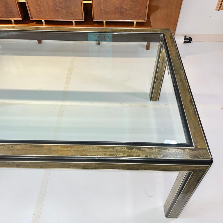 Bernhard Rohne for Mastercraft Acid Etched Brass Dining Table For Sale 3