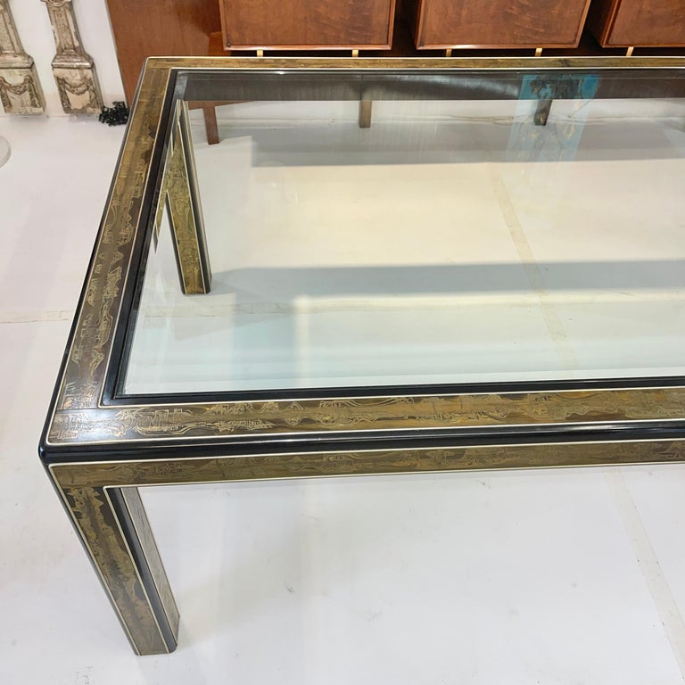 Bernhard Rohne for Mastercraft Acid Etched Brass Dining Table For Sale 5