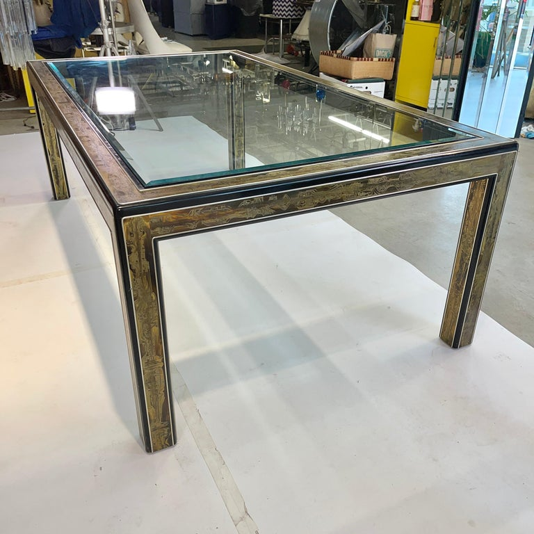 Bernhard Rohne for Mastercraft Acid Etched Brass Dining Table For Sale 6