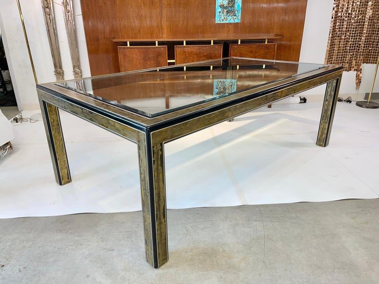 Bernhard Rohne for Mastercraft Acid Etched Brass Dining Table For Sale 7